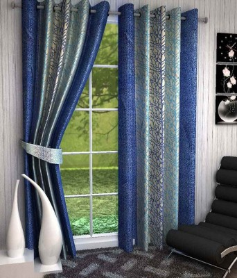 Divine Polyester White, Blue Abstract Eyelet Window & Door Curtain