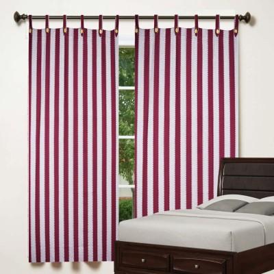 TG Shoppers Cotton Maroon, Beige Striped Curtain Window Curtain