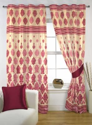 Handloom Factory Polycotton Maroon Floral Eyelet Door Curtain