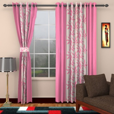kart4smart Silk Pink Floral Curtain Window & Door Curtain
