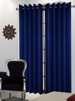 Home Blossoms Polyester Blue Floral Eyelet Long Door Curtain