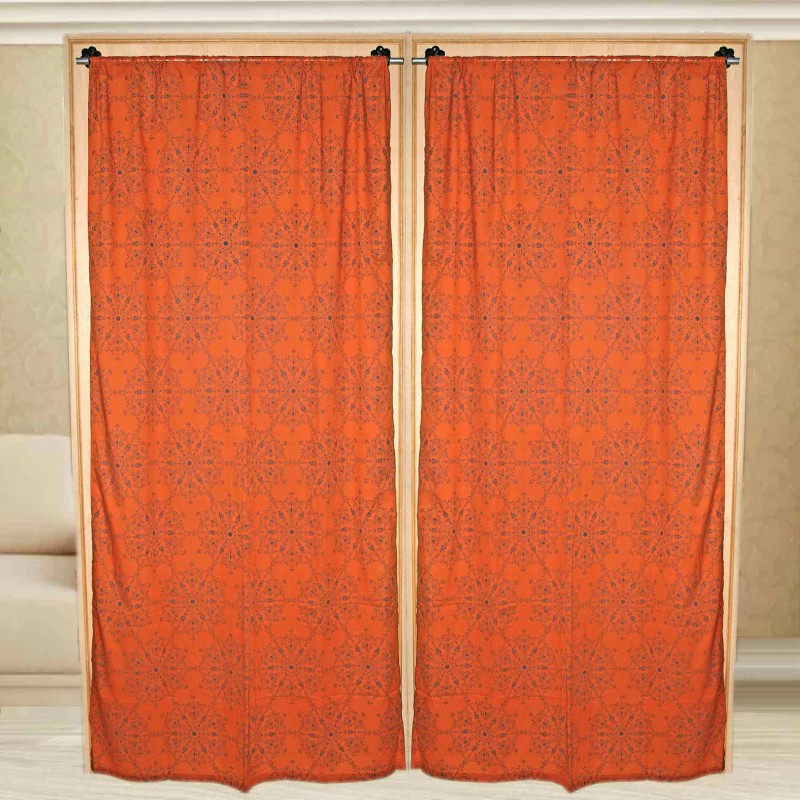 Sriam Cotton Orange Blue Printed Curtain Window Curtain(215 cm in Height, Pack of 2)