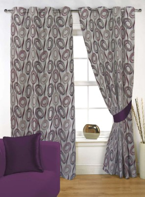 Kings Polycotton Grey Self Design Eyelet Door Curtain