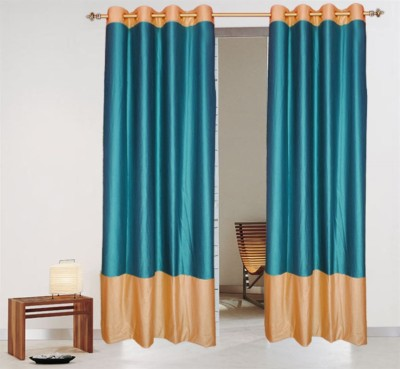 Batham Sales Blends Turquise Plain Eyelet Long Door Curtain