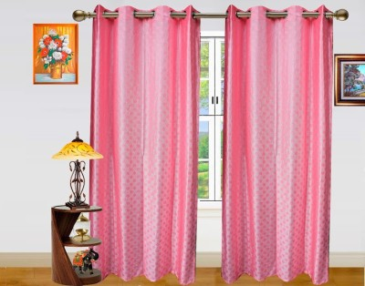 Dekor World Polyester Pink Polka Eyelet Door Curtain