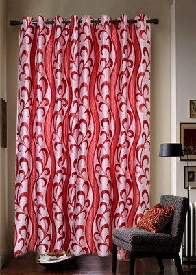 Jds Polyester Red Striped Ring Rod Door Curtain