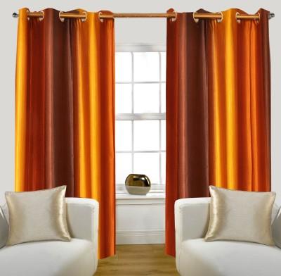 Glamora Interiors Polyester Gold Striped Eyelet Window & Door Curtain