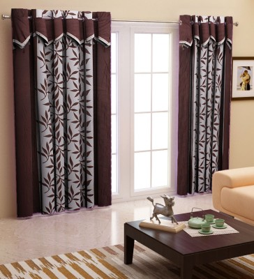 Home Candy Polyester Brown Polka Ring Rod Door Curtain