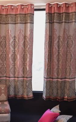 Home Furnishing Polyester Pink 02 Damask Eyelet Door Curtain