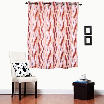 Luk Luck Home Polycotton Orange Printed Ring Rod Window Curtain