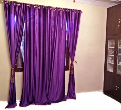 SHC Polyester Purple Solid Eyelet Window & Door Curtain