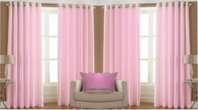 RedHot Polyester Pink Plain Eyelet Window Curtain