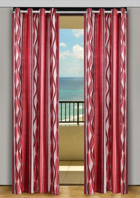HOME-AID Polyester Red Geometric Ring Rod Door Curtain