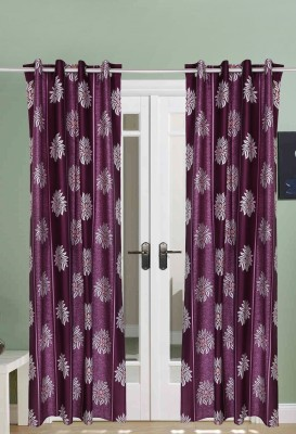 The Handloom Store Polyester Purple Floral Eyelet Window & Door Curtain