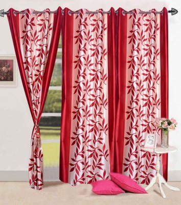 Home Fashion Gallery Polyester Red Floral Eyelet Window Curtain
