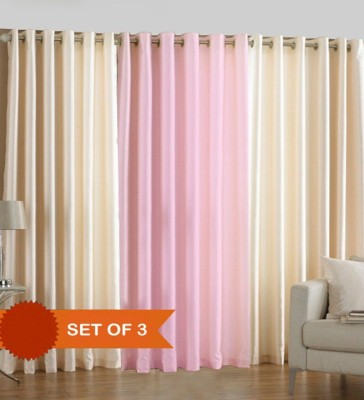 White Wave Polyester Plain Pink Cream Solid Eyelet Door Curtain