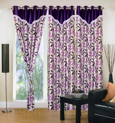 Excel Bazaar Polyester Purple Floral Eyelet Door Curtain