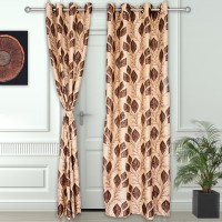 Story@Home Polyester Brown Printed Eyelet Door Curtain(215 cm in Height, Pack of 2)