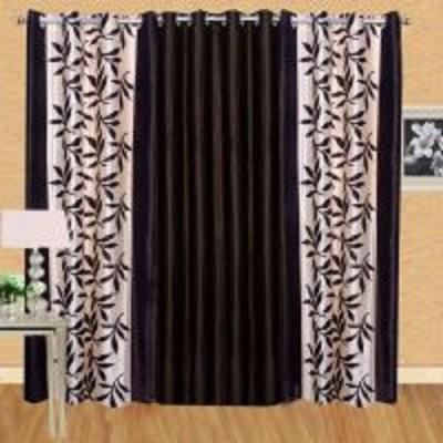 HOMEDECORHD Polyester Brown Floral, Plain Curtain Door Curtain