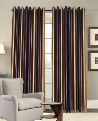 Rayon Casa Polyester Brown Plain Eyelet Door Curtain