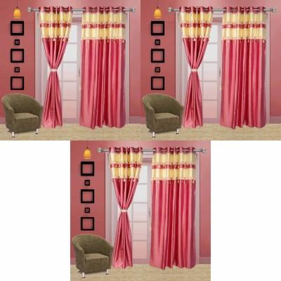 Go Decore Net Pink Self Design Ring Rod Door Curtain
