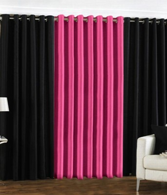 Deco Home Polyester Black With Pink Plain Ring Rod Door Curtain