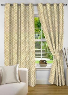 NuHome Decor Polyester Beige Motif Eyelet Door Curtain