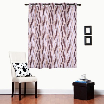 Luk Luck Home Polycotton Brown Printed Ring Rod Window Curtain
