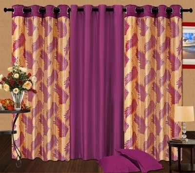 Cortina Polyester Purple Printed Eyelet Door Curtain