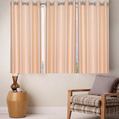 Harry Tex Polyester Beige Solid Eyelet Window Curtain
