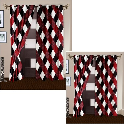Story @ Home Polyester Maroon Checkered Eyelet Door Curtain