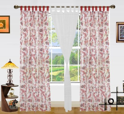 Dekor World Cotton Red/White Printed Tab Top Door Curtain
