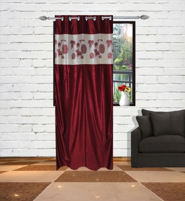 Gaurav Curtains Polyester Maroon Floral Eyelet Window & Door Curtain