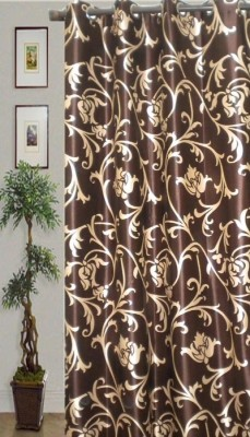 JBG Home Store Polyester Brown Self Design Eyelet Door Curtain