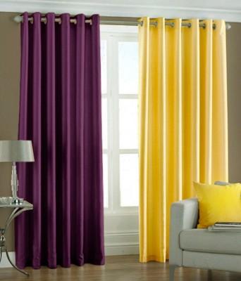 Panipat Textile Hub Polyester Purple, Yellow Plain Eyelet Door Curtain