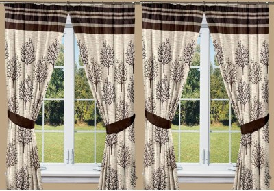 Threadmix Polyester Brown Abstract Eyelet Window Curtain