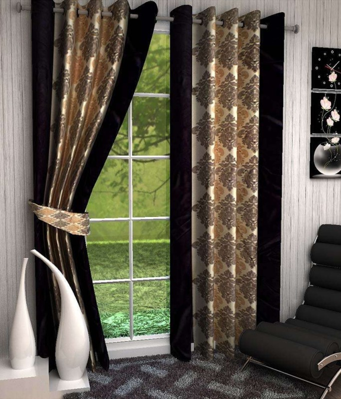 Optimistic Home Furnishing Polyester Brown Motif Eyelet Door Curtain(210 cm...