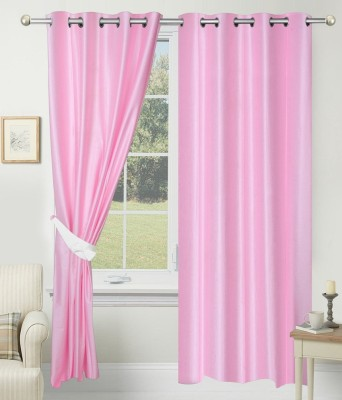 SLV Home Decor Polyester Baby Pink Plain Eyelet Long Door Curtain