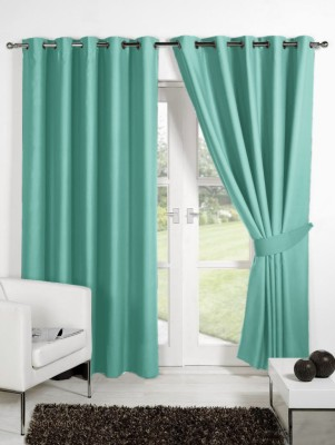Homec Polyester Teal Solid Eyelet Door Curtain