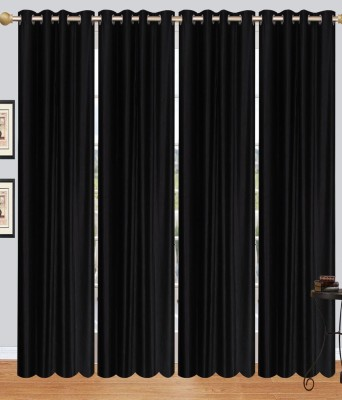 DECO HOME Polyester Multicolor Self Design Eyelet Door Curtain