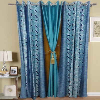 K Gallery Polyester Light Blue Floral Eyelet Long Door Curtain