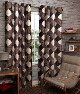 Elegence Polyester Brown Checkered Eyelet Door Curtain