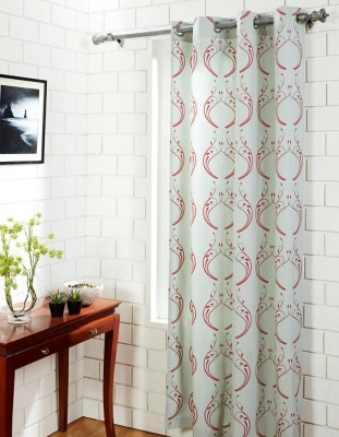 House This Cotton Red Motif Eyelet Window Curtain