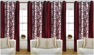 Pendu Art Polyester Maroon Printed Printed Eyelet Door Curtain