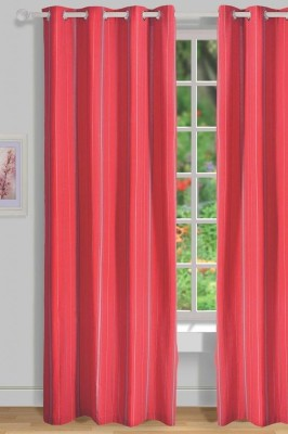 House This Cotton Red Solid Tab Top Window Curtain