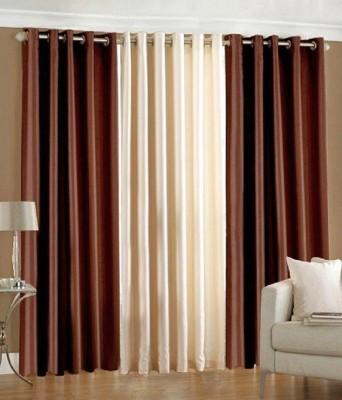 Deco Home Polyester brownwithcream Plain Curtain Window Curtain