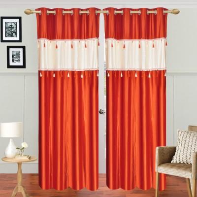 Dreamshomes Polyester Orange, Beige Solid Rod pocket Door Curtain