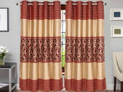 Vivace Homes Jacquard, Polyester Maroon Abstract Eyelet Door Curtain