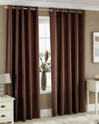 Fabbig Polyester Brown Geometric Eyelet Door Curtain