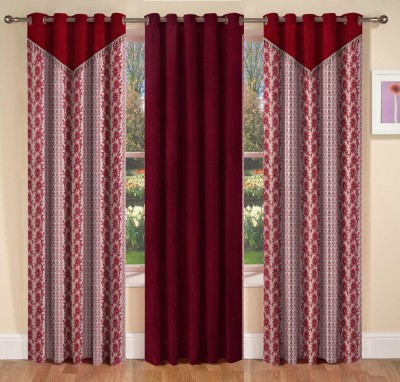La elite Polyester Maroon Abstract Eyelet Long Door Curtain
